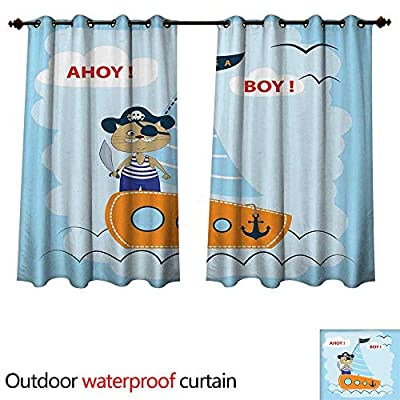 cobeDecor Sea Life Outdoor Balcony Privacy Curtain Ahoy Its a Boy Pirate Cat Hat Sailboat Nautical Anchor Ship Porthole Design Print