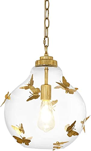 TopDeng Luxury Glass Globes Pendant Light, E26 Modern Hanging lamp with Gold Butterfly Decor Hanging lamp for Bedroom Kids Room Girls Room-C
