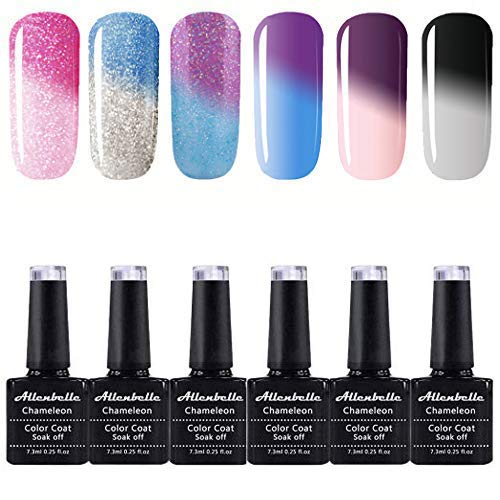 Allenbelle Color Changing Nail Polish Gift set Color Changing Gel Polish Set Mood Soak Off Uv Led Gel Nail Polish(Lot of 6pcs 7.3ML/pc)001