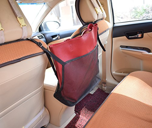 ROLSCALER Car Mesh Organizer Handbag/Purse Holder Driver Storage Netting Pouch Barrier for backseat Pet or Kids (Black+Black) Purses Net