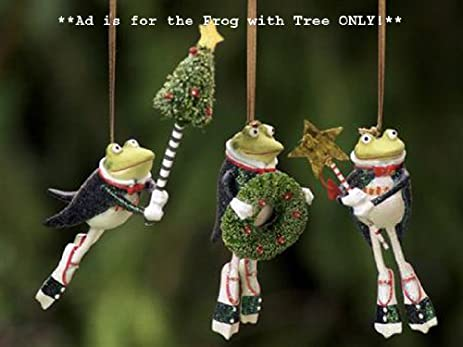 Amazon.com: Patience Brewster Krinkles Frog with Tree Christmas ...
