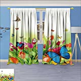 SeptSonne Rustic Home Decor Curtains, Beautiful spring flowers with butterflies,Living Room Bedroom Window Drapes 2 Panel Set, 72W x 72L Inch Review