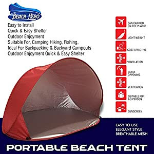 BEACH HERO Automatic Instant Pop up Family Anti UV Beach Tent Portable Cabana Sun Shade and Shelter with Carry Bag For Indoor Outdoor Garden Festivals Children and Adults