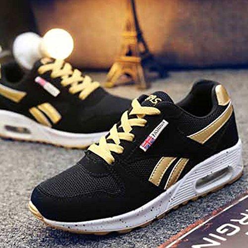Damen Sohle Wanderschuhe Fitness Farben Sfit Schwarz Sport Laufschuhe Shoes Atmungsaktiv Air Sneaker Turnschuhe Schnürer Leichte Golden Running dqwHwfRxWY