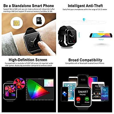 2018 Bluetooth Smart Watch Touchscreen with Camera,Unlocked Smartwatch Phone with Sim Card Slot,Smart Wrist Watch,Smartwatch Phone for Android Samsung S9 S8 IOS Iphone 8 7S Men Women Kids Smartwatch