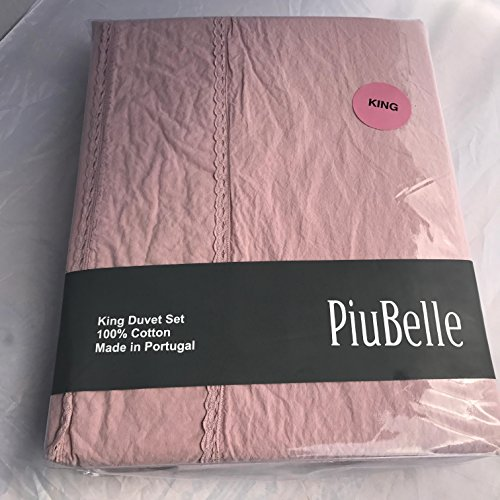 Piu Belle King Size Blush Brushed Cotton Duvet with Lace Trim Detail Three (3)-Piece Set by Piu Belle