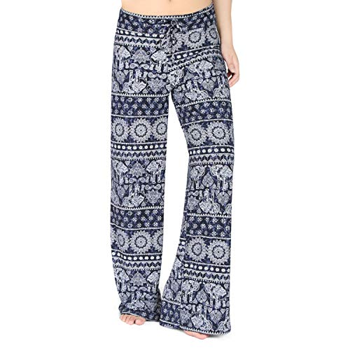 HIGHDAYS Pajama Pants for Women Floral Print Palazzo Pants Comfy Casual Lounge Pants with Wide Leg & Drawstring (L, Blue Elephant)