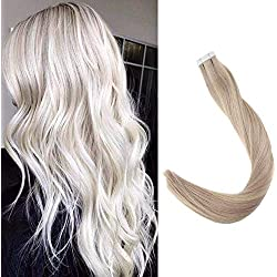"""Full Shine 18"""" Human Hair Extensions for Women Tape Hair Highlighted Color #18 Ash Blonde #24 Light Blonde and #60 Platinum Blonde 50g 20pcs Each Package Remy Hair"""