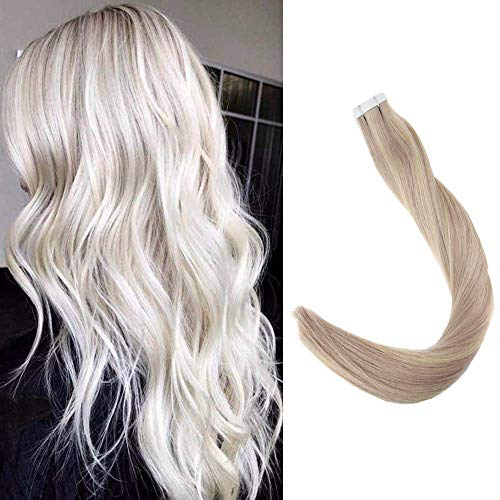 Full Shine 20 inch P Color #18/24/60 Ash Blonde & Light Blonde & Platinum Blonde Tape Hair Extensions 100 Remy Human Hair 50g Straight Hair Extensions 20pcs Per Package ()