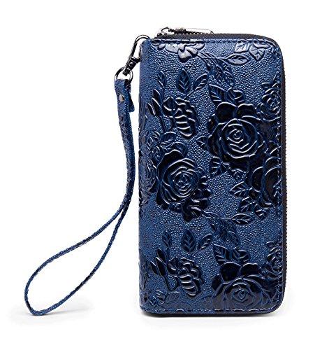 Blue Wallet Womens (LOVEME Women Blue Flower Double Zipper Wallets Hangbag Bank Card Cash Package (BLUE-FLOWER28))