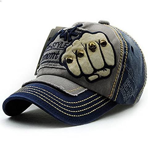 Pure cotton Personality Vintage Embroidered Snapback Baseball Cap Patch Visor Trucker Hat (Fist, Blue & (Chief Head Snapback)