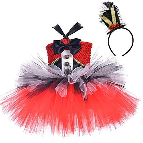 Girls Circus Ringmaster Costumes Halloween Lion Tamer Dress Up Red -