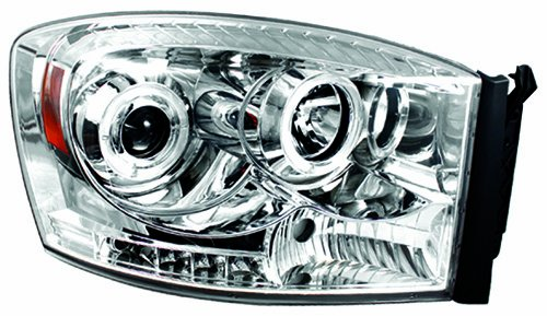 IPCW CWS-422C2 Dodge RAM Pickup Chrome Projector Head Lamp with Rings - Pair
