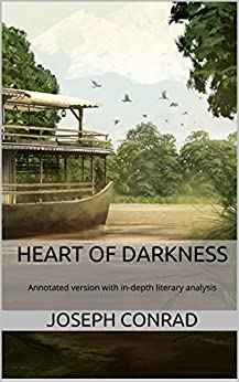 What literary techniques in Heart of Darkness emphasize the story's dark mood?