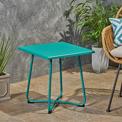 Christopher Knight Home Doris Outdoor Modern 18 Side Table with Steel Legs-Teal