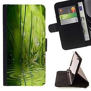 For Samsung Galaxy S5 V SM-G900 Case , Wave Agua Lluvia Naturaleza Verde- la tarjeta de Crédito Slots PU Funda de cuero Monedero caso cubierta de piel