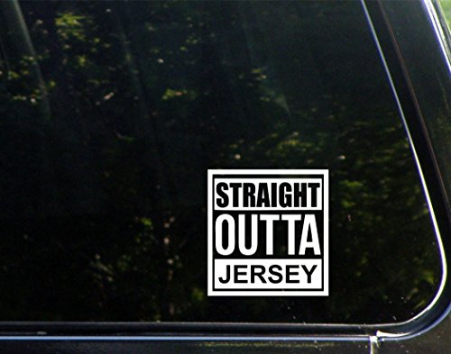Straight Outta Jersey  4  X 4   Die Cut Decal Bumper Sticker For Windows  Cars  Trucks  Laptops  Etc