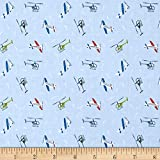 Lewis & Irene Small Things On The Move Planes Light Blue Fabric By The Yard