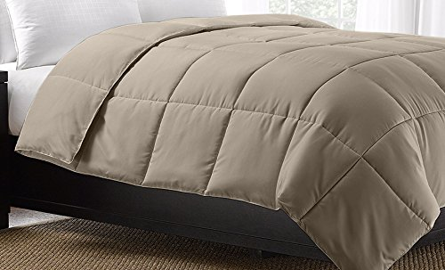 Ella Jayne Home Exquisite Hotel Collection All Season Down Alternative Box Stitched Duvet Insert Comforter, Full/Queen, Khaki
