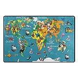 U LIFE Cute Cartoon Kids Animal World Map Large Doormats Area Rug Runner Floor Mat Carpet for Entrance Way Living Room Bedroom Kitchen Office 63 x 48 Inch