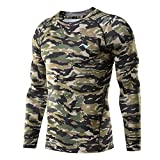 Nooz Men's Cool Dry Compression Baselayer Long Sleeve T Shirts - Army Camo, Large