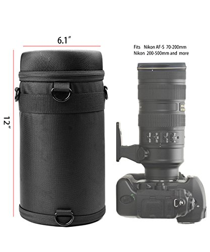 WGear Semi-Hard Lense Case for DSLR Camera Lens (Canon, Nikon, Sony, Pentax, Olympus, Panasonic,etc), Medium Size with Carabiner, Lens Cleaning Wipe (Black Medium) (Black XL)