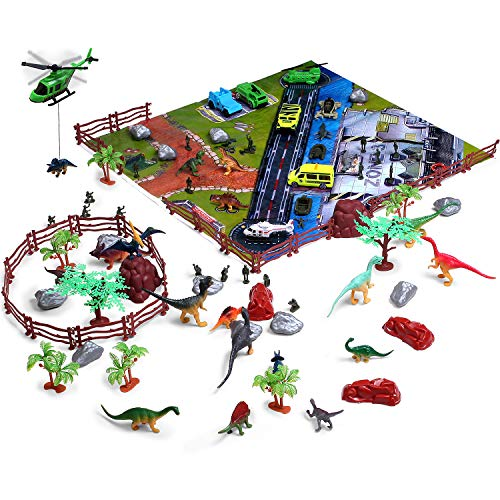 Gifts2U Dinosaur Toys Play Set 100 Piece with Jurassic Dinosaurs Figures, Army Men, Matchbox Cars Playsets, Trees, Rocks, Fences and Large Size Play Mat, All in Storage Bucket