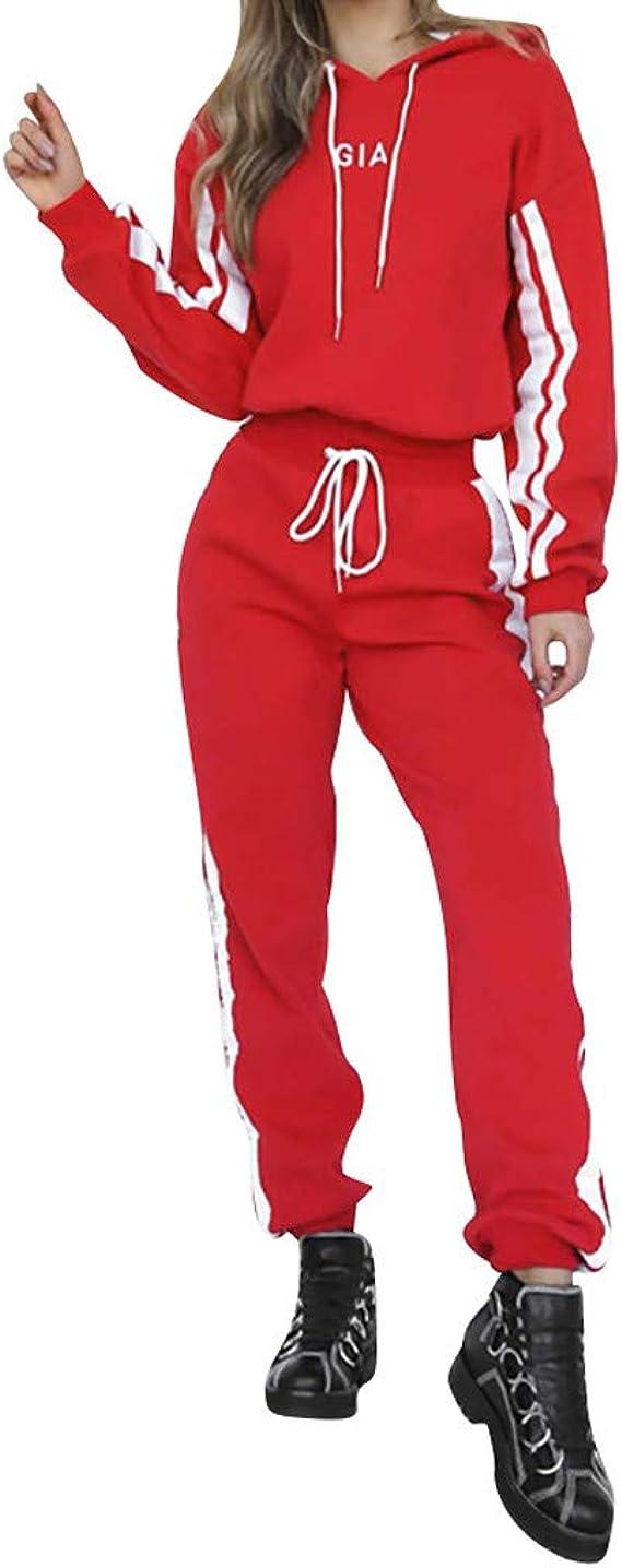 Lange Hose Sportswear 2 St/ück Set Sport Outfit Raylans Damen Mode Streifen Trainingsanzug Frauen Lange /Ärmel Sweatshirt