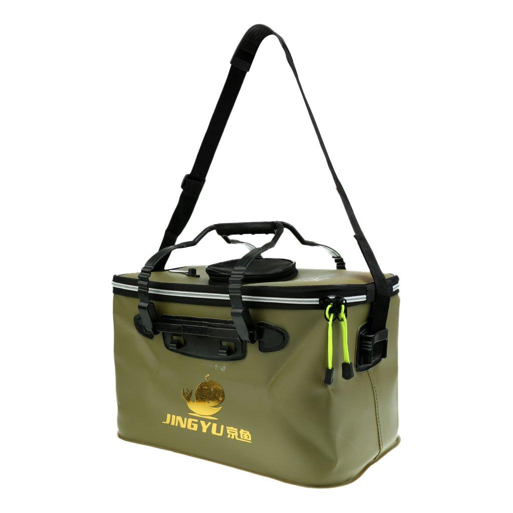 MagiDeal Sac à L'eau Rabattable Portable Seau Etanche Zippé avec Poignée Bandoulière pour Pêche Camping 40x25x25cm