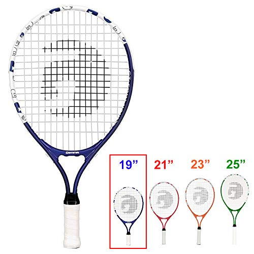 Gamma Sports Junior Tennis Racquet: Quick Kids 19 Inch Tennis Racket - Prestrung Youth Tennis Racquets for Boys and Girls - 93 Inch Head Size - Blue