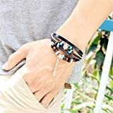 Willsa Indian Style Wooden Beads Feather Pattern Wrist Bracelet Jewelry