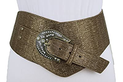 TFJ Women Wide Western Fashion Belt Waist Hip Rodeo Plus Size XL XXL Bronze Brown