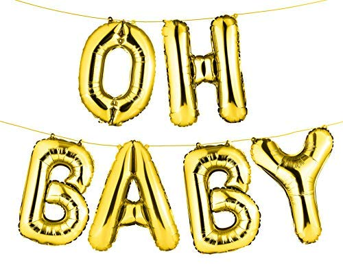 16 Set of GoldOH Baby Letters/Alphabets Foil Balloons | Baby Girl/Boy Shower Balloons | Happy Birthday Occasion Party Decorations Alphabetic Balloons (Set of 6)