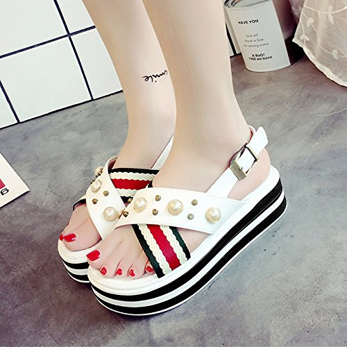 RUGAI-UE Fondo Perla gruesa tira transversal sandalias mujer fondo blando calzado confortable piso White