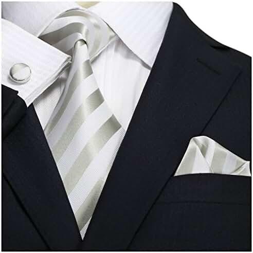 Landisun SILK Various Stripes Mens SILK Tie Set: Necktie+Hanky+Cufflinks