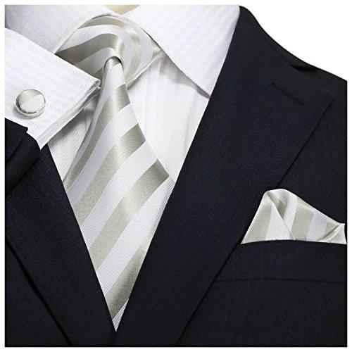 Landisun SILK Stripes Mens SILK Tie Set: Necktie+Hanky+Cufflinks 27A Silver White, 3.25
