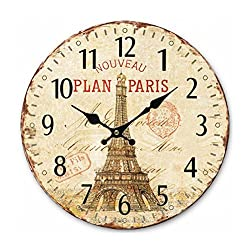 Xiaolanwelc Vintage France Paris Colorful French Country Tuscan Style Non-Ticking Silent Wood Wall Clock with the Eiffel Tower