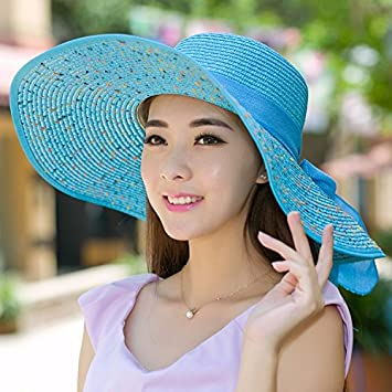 Ktfactory Mujeres del verano sombreros para el sol piscina playa sombrero  de paja pueden plegarse ala ancha e2fa6c1fbdc