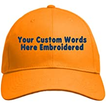 UNAMEIT Custom Hat, Embroidered. Your Own Text. Adjustable Back. Curved Bill