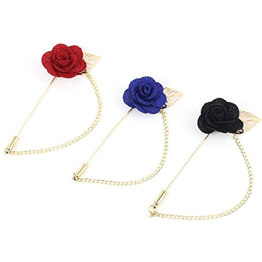 34cea97dbcf Image Unavailable. Image not available for. Color: TraderPlus 3 Pieces Men's  Rose Flower Brooch Lapel Suit Pin Boutonniere Set for Wedding Party