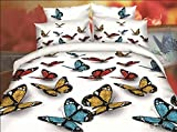 BELOMODA 5D Butterfly Print Queen Size BedSheet With 2 Pillow Covers (Multicolor_Queen)