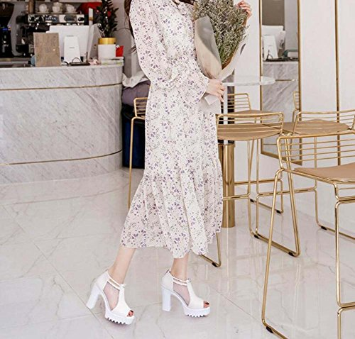 Alto Pesce Scarpe da Scarpe Primavera Romane Spessa Tacco con Estate Bianca Donna Bocca Moda Scarpe vUp4x8q8w