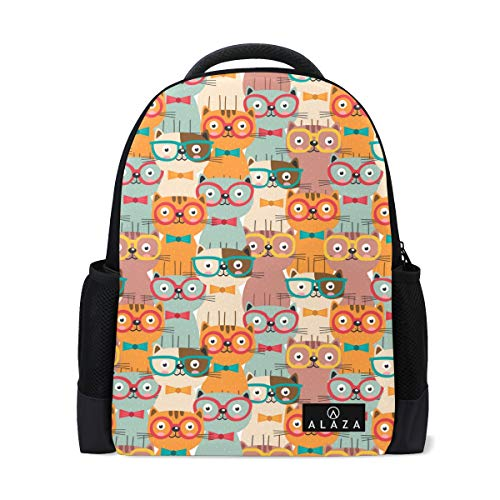 Cat Scratch Statue Backpack Lightweight School Backpack, Classic Basic Casual Backpack, Travel with Bottle Side -