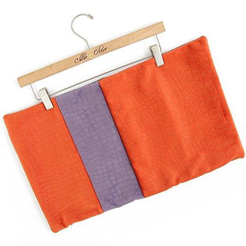 Chloe & Olive Handmade Colorblock Decorative Throw Toss Pillowcase - Orange Purple Gray Cushion Sham - Crocodile Alligator Embossed Velvet - 12x20