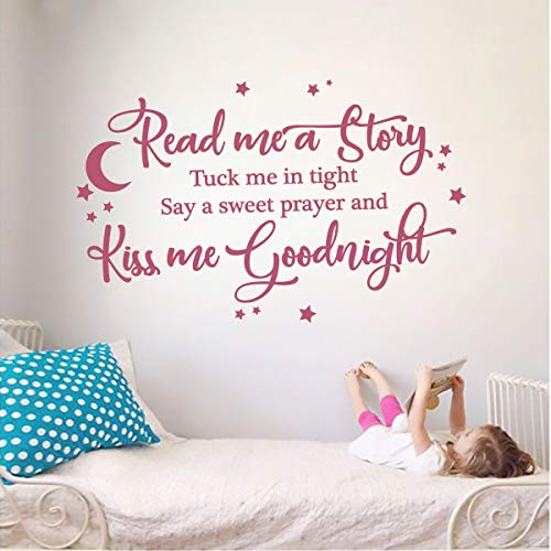 Read Me A Story & Kiss Me Goodnight Kids Room Vinyl Wall Decal Sticker (Bubble Gum, 24 X 15 in) ()