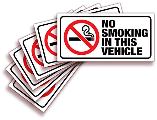 iSYFIX No Smoking Sign Sticker for Vehicles & Cars - 6 Pack 3x1.5 inch - Premium Self-Adhesive Vinyl, Laminated Ultimate UV, Weather, Scratch, Water Fade Resistance, Indoor & Outdoor
