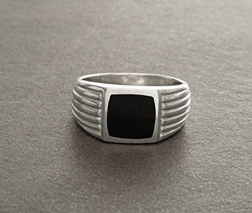 Men Ring, Sterling Silver, 925, Black Onyx Ring,Genuine Onyx Gemstone, Art Deco, Silver Ring, Men Jewelry, Silver Jewelry, Black Stone, Onyx - Genuine Onyx Mens Ring