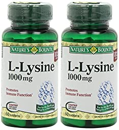 Nature\'s Bounty L-Lysine, 1000mg, 120 Tablets (2 x 60 Count Bottles)