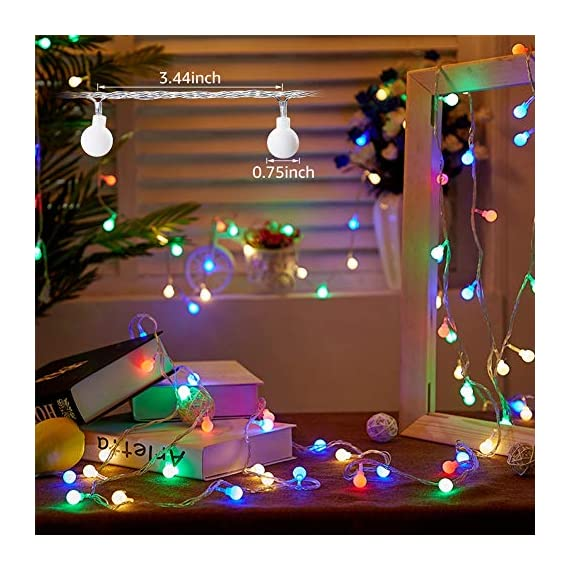 """Ollny Globe String Lights 100 LED 33ft for Indoor Bedroom Wedding Party Outdoor Christmas Garden Decorations Bulb Fairy String Lights with Remote Plug in Multi Color - 💡 8 LIGHTING MODES: The multi-color globe string lights, string length is 33ft, have 100 LEDs and 8 working modes - Combination, In Waves, Sequential, Slo-Glo, Chasing/Flash, Slow Fade, Twinkle/Flash, Steady on. You can use the remote to choose your favorite mode. Softer lights creating warm romantic atmosphere for your family at every moment. 💡 TIMER FUNCTION: TIMER FUNCTION: The fairy string lights come with a remote. Remote control has memory function, no need to repeat settings. If you want to reset you can pull out adapter/plug directly. When the adapter/plug has been pulled out and turned on again, the default light mode is automatically turned on. And you can set the """"Timer"""" by remote, the string lights will be automatically on for 6 hours and off for 18 hours per day. 💡 SAFE FOR USE: UL certificated plug, advanced LED bulbs and really safe DC 29V low voltage plug for use in your home. The high-quality keeps the lights at a low temperature so they are safe to touch after many hours of use. - patio, outdoor-lights, outdoor-decor - 51fAXHYdEqL. SS570  -"""