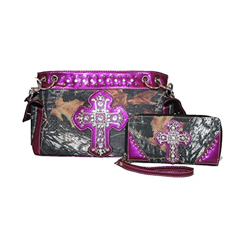 Rhinestone Camouflage Cross Women's Shoulder Handbag Purse with Matching Wallet in One Set. Multi colors. (Purple)